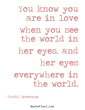 David Levesque picture quotes - You know you are in love when you see the world in her.. - Love quotes