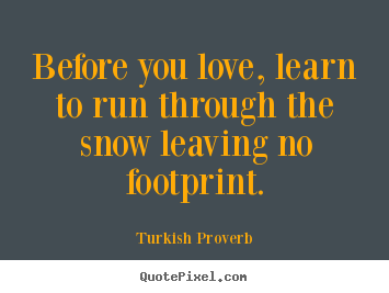 Love sayings - Before you love, learn to run through the snow leaving no..