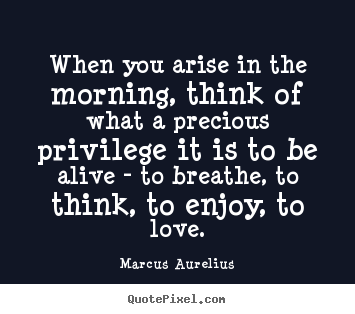 Quotes about love - When you arise in the morning, think of what a precious privilege..