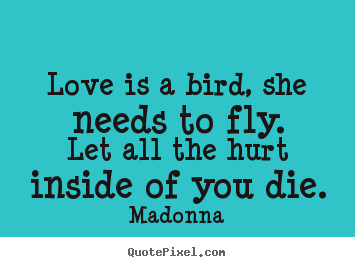 Love quotes - Love is a bird, she needs to fly.let all the hurt inside of..