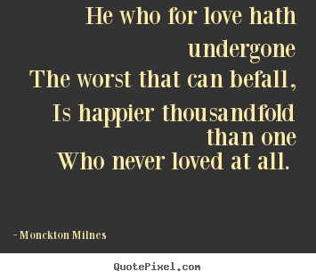 Make personalized picture quotes about love - He who for love hath undergone the worst that can befall, is..