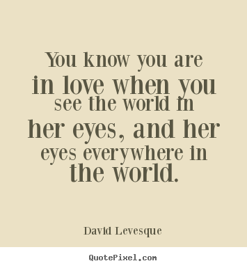 You know you are in love when you see the world.. David Levesque  love quote
