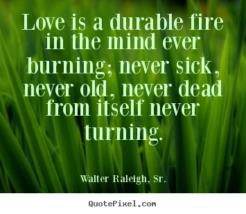 Create your own photo quote about love - Love is a durable fire in the mind ever..