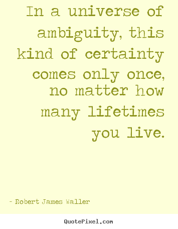 Quotes about love - In a universe of ambiguity, this kind of certainty comes..