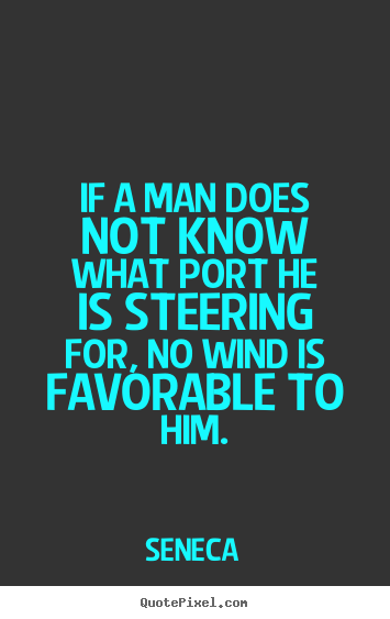 If a man does not know what port he is steering for,.. Seneca  motivational quotes