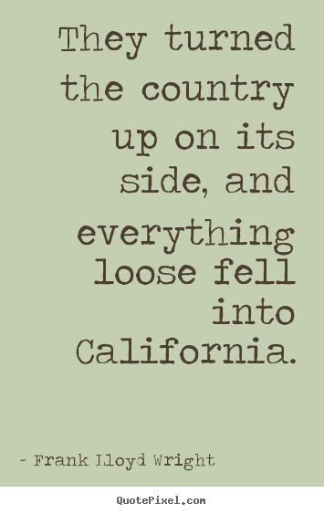 Frank Lloyd Wright picture quotes - They turned the country up on its side, and.. - Success quotes