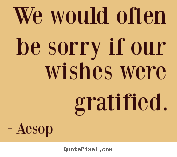 Success quotes - We would often be sorry if our wishes were gratified.
