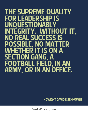 How to design image quotes about success - The supreme quality for leadership is unquestionably integrity...