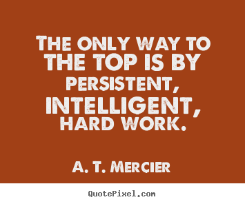 Create graphic picture quotes about success - The only way to the top is by persistent, intelligent, hard..