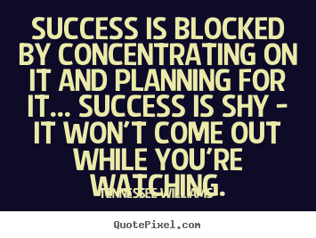Success quotes - Success is blocked by concentrating on it and planning for it... success..