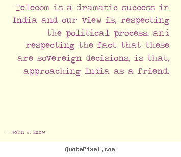 Quotes about success - Telecom is a dramatic success in india and our view is, respecting the..