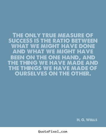 Make personalized picture quotes about success - The only true measure of success is the ratio between what we might..