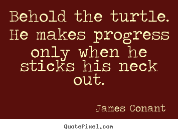 Success quotes - Behold the turtle. he makes progress only when he sticks his..