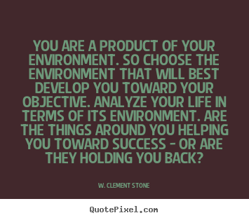 Quotes about success - You are a product of your environment. so choose the environment..