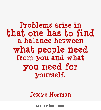 Quotes about success - Problems arise in that one has to find a balance between..