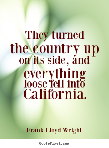 Frank Lloyd Wright picture quotes - They turned the country up on its side, and everything loose.. - Success quotes