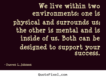 How to design picture quotes about success - We live within two environments: one is physical and surrounds..