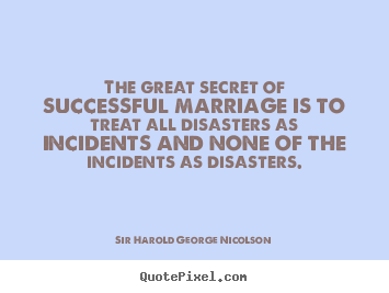 Create your own picture quotes about success - The great secret of successful marriage is to treat all disasters..