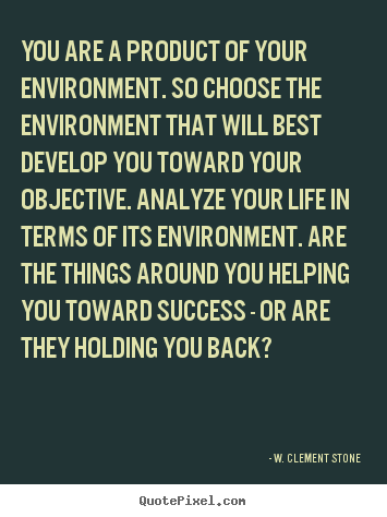 Design image quotes about success - You are a product of your environment. so choose the environment..