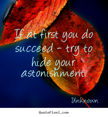 Success quote - If at first you do succeed - try to hide..